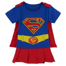 Wholesale Funny Baby Girl - Baby Girls Funny Supergirl Costume Bodysuit Infant Dress with Cape