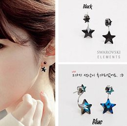 Wholesale Blue Star Sapphire Jewelry - Double sided Crystal Star Stud Earrings Sapphire Blue & Black Star Earrings Party Jewelry for women girls