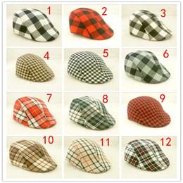 Wholesale Beret Ear - Kids Boys Girls Swallow gird Beret Cap Toddler Children's Flat Cabbie Hats Cotton Sun Caps mixed 12colours