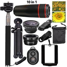 Wholesale-2016 New 10in1 Phone Camera Lens Kit 8x Telephoto Lens + Wide Angle + Macro Lens +Fish Eye +Selfie Stick Monopod + Mini Tripod cheap wide angle lens kit от Поставщики широкоугольный объектив