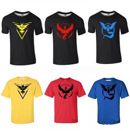 Wholesale Turtle Shirts Wholesalers - Men's Women's Poke Go T-Shirt Team Instinct Valor Mystic T-shirts men woman Pikachu Jeni turtle Charmander Short sleeve T-shirts 6 Styles