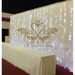 Wholesale Wedding Backdrop Curtain Lights - Cheap Price White Color 3M*6M Wedding Backdrop Curtain \ Stage Background With String Led Lights