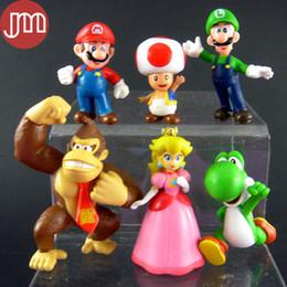 "Wholesale Super Mario Action Figures Collection - New 6 PCS Super Mario Bros Peach Yoshi Luigi Kong Monkey 3"" DK Action Figure Kids Toys PVC Birthday Gift Collections Tracking"