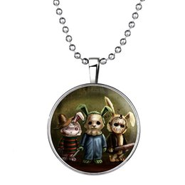 Wholesale Necklaces Bunny Rabbit - Newest Luminous Puppet Rabbit Necklace Glow in the Dark Bunny Charm Sweater Chain Collares Halloween Statement Necklace Pendant 152N80