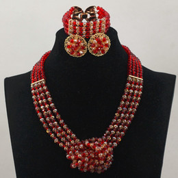 Wholesale Gele Head - african beads jewelly set red gold Bridesmaids necklace set match for african headties sego gele head tie and aso ebi lace style dress G01