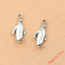 Wholesale Jewelry Penguin Pendant - 80pcs Antique Silver Tone Penguin Charms Pendants Jewelry Diy Jewelry Findings 23x10mm jewelry making