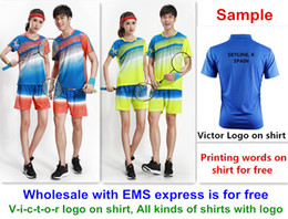 Wholesale L Table - Wholesale EMS for free, Text printing for free, new badminton shirt clothes table tennis T sport shirt clothes 1078