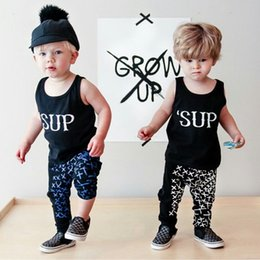 Wholesale Toddlers Boys Sports Clothes - 2016 INS summer new Newborn baby sets outfits Toddler clothes SUP tank + pants 2pcs sports pure cotton wholesale retail drop shipping 2T