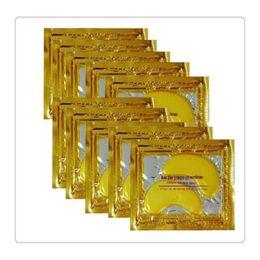 Wholesale 24k Gold Powder - 24K Gold Powder Crystal Gel Collagen Eye Masks Anti Aging Crystal 24K Gold Powder Gel Collagen Eye Masks Sheet Patch Christmas Gift
