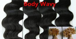 Wholesale Human Wavy Hair U Tip - AAAAA Grade Body Wavy 0.5g*200s 10''-28'' Black Brown Blonde Mixed Ombre Colors 100% Indian Remy Human Hair Extensions Nail U Tip