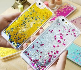 Wholesale Transparent Cell Phone Cases - 2016 Fashion Wholesale Transparent Liquid cell phone case Glitter Star Quicksand Liquid Phone Back Cover for iphone 7 7plus 6 6s plus