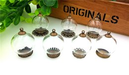 Wholesale globe bottle - 25*15mm clear glass globe bottle with base findings empty glass dome cover glass vial pendant charms handmade jewelry findings 7 style choos