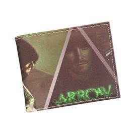 Wholesale Arrow Holder - Factory Sale Pop Movie Green ARROW Wallets Top Quality Leather Short Unisex Men Women Wallet Purse Credit Card Holder Comics Wallet Carteira