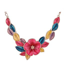 Wholesale Twisted Chunky Choker Necklace - Women Floral Choker Necklace Fashion Charms Chunky Statement Necklace Collares 2016 Boho Vintage Maxi Collares
