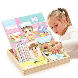 Wholesale Transportation Art - Magnetic Puzzle Wooden Whiteboard Drawing Multifunctional Baby Dress Transportation Easel Board Arts Toys Children Kids Gifts