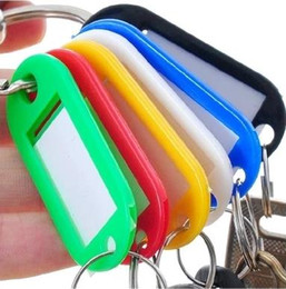 Wholesale Wholesale Blank Id Cards - DIY Hotel Home Blank Key Classification Tags Plastic Language Keychain ID Name Cards Labels With Ring 100 PCS Lot