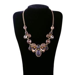 Wholesale Luxury Necklaces Gemstone Pendant - 2016 New Fashion Party Gemstone Necklaces For Women Europe America Style Luxury Jewelry Bohemian Female Pendants Necklace Nice Gift