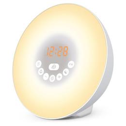 Wholesale Wake Up Alarm Clock - Wake Up Light Sunrise Simulation Alarm Clock with Sunset & Snooze Function Bedside Night Light 6 Colors 7 Alarm Sound & FM Radio