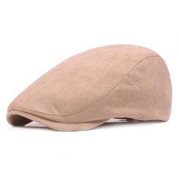 Wholesale Duckbill Caps - 2017 New Fashion Vintage Suede Beret Hat Curved Brim Duckbill Berets Gorras Planas Newsboys Cap Ivy Cabbie Caps For Women