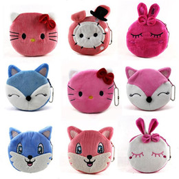 Wholesale Wholesale Beads Coin Purse - Cartoon cute little rabbit series plush zero wallet creative bead chain small coin bag fox multi color mixed wholesale girl purse
