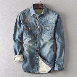 Wholesale Slim Denim Shirt - Wholesale- Autumn Winter New Slim Warm Camisas Hombre Vestir Thick Vintage Velet Lining Winter Denim Shirts Men