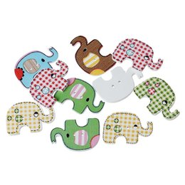 Wholesale 25mm craft buttons - Radom Mixed Cute Elephant Wooden Buttons 100pcs 2 Holes Buttons For Sewing Scrapbooking Crafts Accessories 25mm X22mm I243L