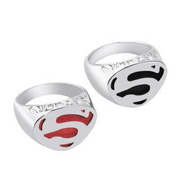 Wholesale Costume Jewelry Rings Wholesale - 2016 Superman Ring of Superman Returns Cospaly Costume rings Jewelry With Titanium Steel Movie jewelry fashion classic rings zj-0903768