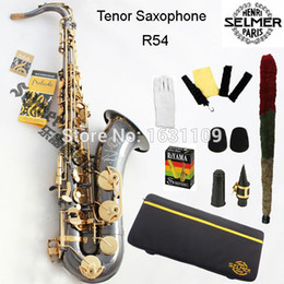 Wholesale Bb Accessories - Wholesale-Free shipping EMS Genuine France Selmer Tenor Saxophone R54 Professional B Black Sax mouthpiece With Case and Accessories #9