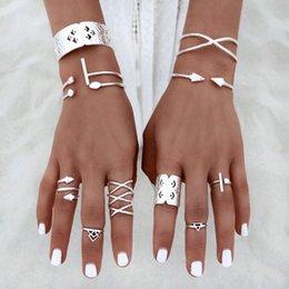 Wholesale Mid Finger Rings - 14mm-18mm 8Pcs Set 8 Style Women Vintage knuckle ring Popular Antique Silver Alloy Knuckle Boho Mid Finger Rings
