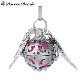 "Wholesale Silver Tone Jewelry Box - Copper Wish Box Pendant Silver Tone Wing Carved With Fuchsia Ball Rhinestone 40mm(1 5 8"")x 25mm(1""),1 PC 2016 new Free shipping jewelry maki"