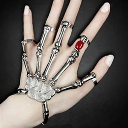 Wholesale Rings American Stretch - 2016 Hot Sale Halloween Woman Skeleton Fingers Hand Hone Bracelet Charm Jewelry Stretch Bracelet Fashion Style