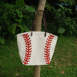 Wholesale Wholesale White Cotton Tote Bags - Wholesale Blanks Baseball Tote Bags Sports Bags Casual Tote Softball Bag Football Soccer Basketball Bag Cotton Canvas Material DOM103281