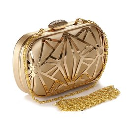 Wholesale Money Dating - Vintage Hollow Out Metal Evening Bags Diamonds Gold Black Ladies Evening Bag Small Purse Bag Pocket Money Bag For Wedding dating