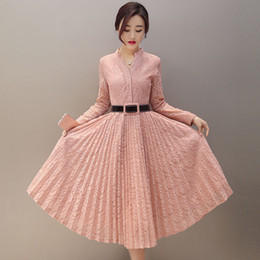 Wholesale korean lace dress xl - Wholesale- 2017 new spring fashion Korean style cultivating long dress single breasted long sleeved lace pleated backing dresses female