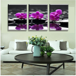 Wholesale Free Flower Art - 3 Piece Free Shipping Hot Sell Modern Wall Painting Purple orchid Home Decoration Flowers Art Picture Paint on Canvas Prints