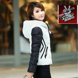 Wholesale Thin Down Coats For Women - Wholesale-2016 Fashion Polka Dot Parkas For Women Winter Warm Down Cotton Thin Coat Female Plus Size Short Padded Winter Jackets WUJ0402