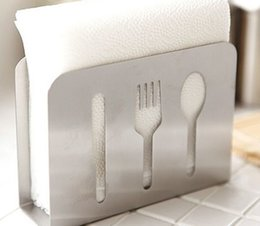 Wholesale Tissue Box Stainless - Wholesale- Stainless steel kitchen paper holder European fashion paper towel rack bathroom tissue box tableware spoon knife fork design