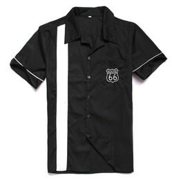 Рокабилли рубашка онлайн-Wholesale-Wholesale Clothing Short Sleeve Rockabilly 50s 60's Clothing Men's Design Vintage Casual Bowling Shirt for Drop Shipping