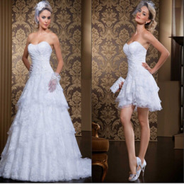 Wholesale Sexy Mini Beach Wedding Dress - Custom Made New Style 2 In 1 Wedding Dress 2017 Vintage Sweetheart Sexy Sweetheart Vestidos De Novia Bridal Gowns with Detachable Skirt