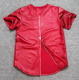 Wholesale T Shirt Black Leather Men - Summer side zipper Men Tyga plaid pyrex ktz Black Kaviar New short Sleeve T shirt Faux Leather men hip hop clothing Kanye Tee