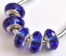 Wholesale Dark Blue Murano Glass Beads - MURANO GLASS BEAD LAMPWORK Fit European Charm Bracelet dark blue