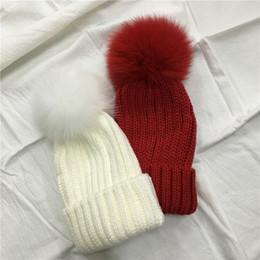 Wholesale Grey Fur Raccoon - Fur ball cap winter hat for women girl 's Real Fur Hat 100% Real Raccoon Pom Winter Hat beanie for women