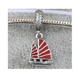 Wholesale Chinese Love Bracelet - beads 925 sterling silver beads Chinese Junk Ship, Red Enamel & Clear CZ Fits for Pandora Jewelry Bracelets & Necklace 2016 summe