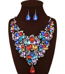 Wholesale Jade Flower Silver Necklace - Luxury fashion New arrival vintage statement multi colored crystal necklaces for women za brand bib flower necklaces