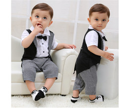 Wholesale Baby Boy Summer Formal Suit - Baby Boy Tuxedo Romper Suit Newborn Boys One Pieces Rompers Baby Boy Formal Clothes Infant Gentleman Jumpsuit Bebes Rompe