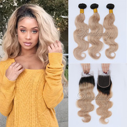Wholesale Ombre Hair 27 - 100% Human Hair Extensions 2 Tone Ombre 1B 27 Honey Blonde Body Wave Malaysian Virgin Hair Weaves 3 Bundles With 4*4 Lace Closure