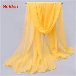 Wholesale Wholesale Shawls Wraps For Fall - 2016 summer and fall season hot sale chiffon silk scarfs plain gold color scarves for women competitive prices