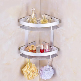 Wholesale High Corner - Soap Cosmetic Storage Organizer Rack Two Layer Wall Mounted Space Aluminum Bathroom Holder High Quality 26 5yj C R