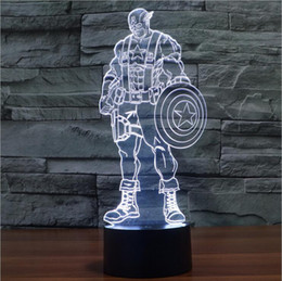 Wholesale Three Color Light Party - Captain America Colorful 3D Three-dimensional Visual Light Touch Light Lamp Creative Lamp Switch Illusion