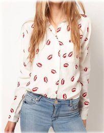 Blusa de labios rojos online-Blusa de las mujeres Turn-down Collar Red Lip Print White Lady Chiffon Shirt Blusa de manga larga Tops Plus Size Envío gratis
